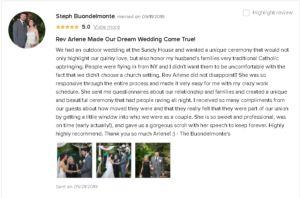 Testimonial that Rev Arlene Made Wedding Dream Come True