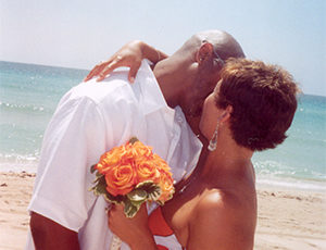 Before a cruise beach wedding ceremony