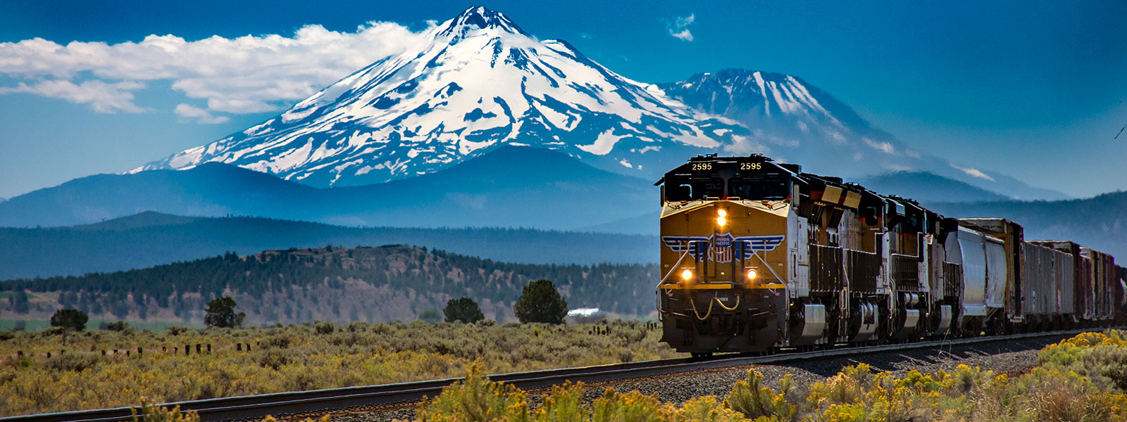 Mt Shasta Landscape with Train