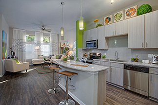 apartment kitchen at The Ivy Residences at Health Village in Orlando Florida