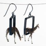 Kristin Lora - Giraffes in Oxidized Rectangle Earrings