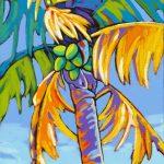 Coconut Palm Dances in Blue 24 x 12 Acrylic