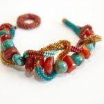 Julie Powell Designs - Carnelian & Turquoise Stone Cuff