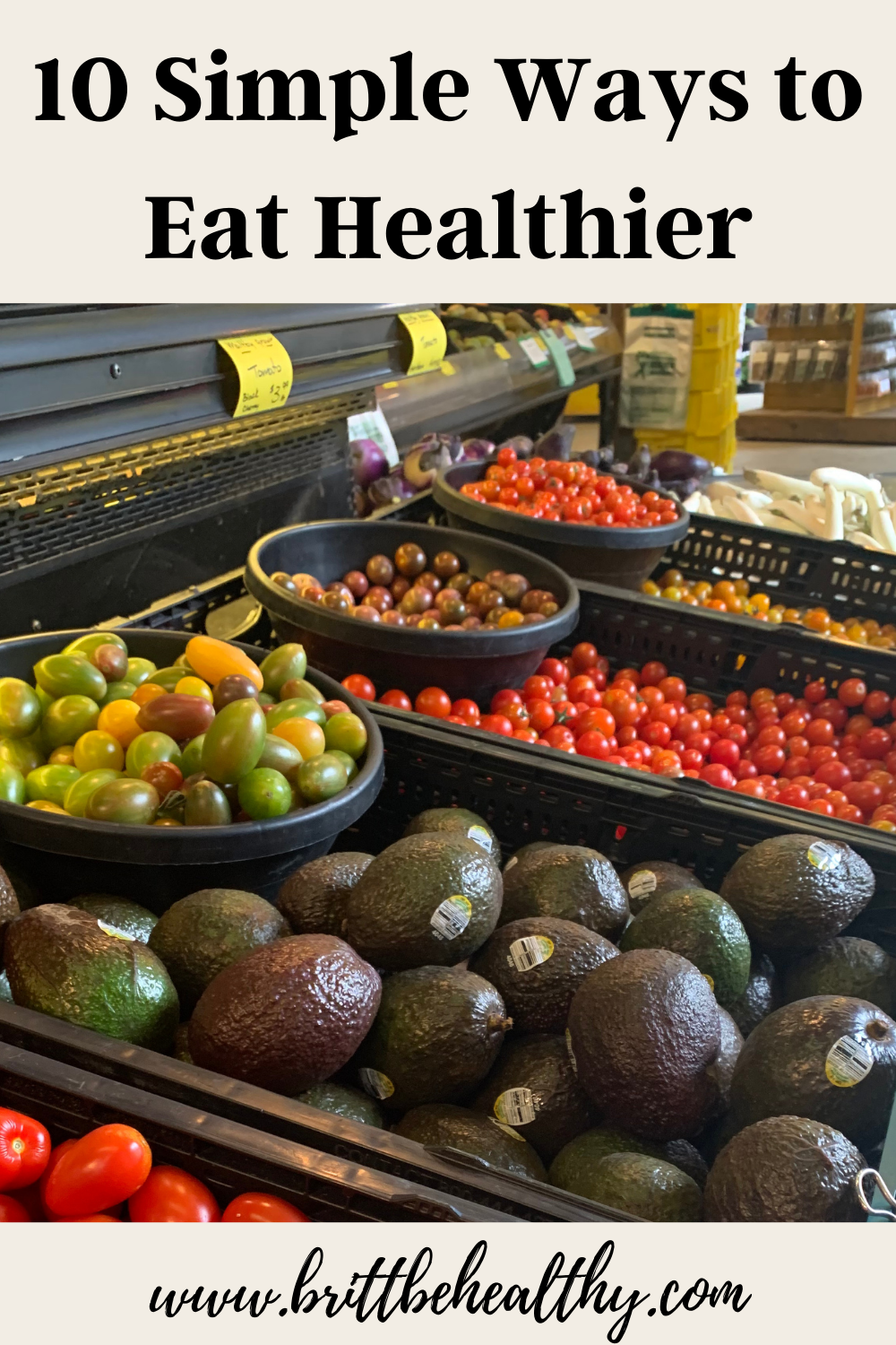 10 simple ways to eat healthier Pinterest image