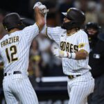 Adam Frazier debuts for Padres in 7-4 win