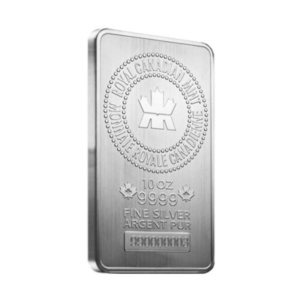 10 oz Royal Canadian Mint (RCM) .9999 Fine Silver Bar