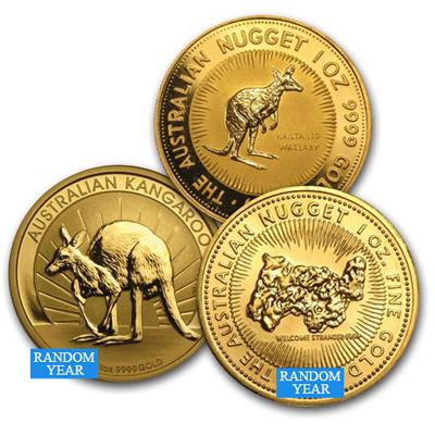 Australia 1 oz Gold Kangaroo- nugget bu random year coins
