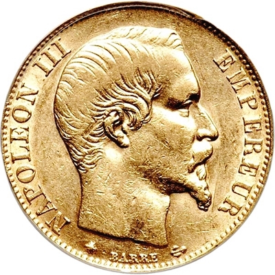 French Gold 20 Franc Napoleon