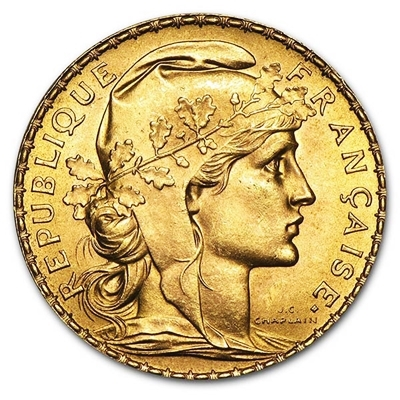 Swiss Gold French 20 Franc Rooster