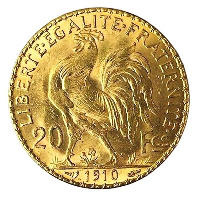 Franc Rooster Swiss Gold French 20