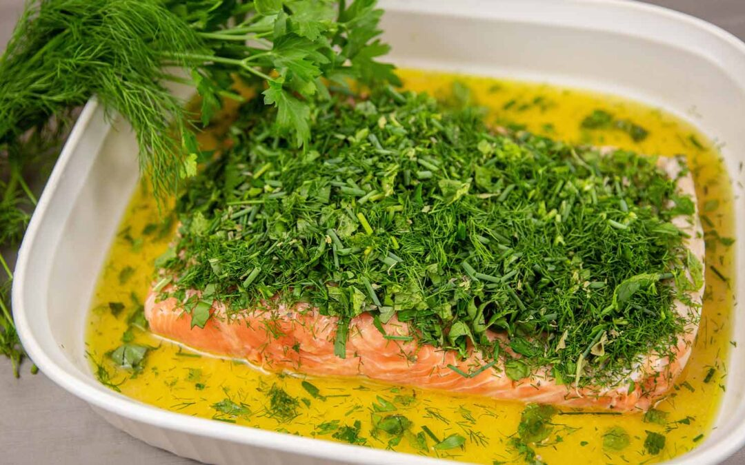 Salmon with Six Herbs