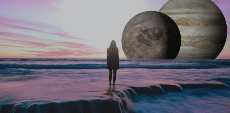 Girl walking in the water towards the universe