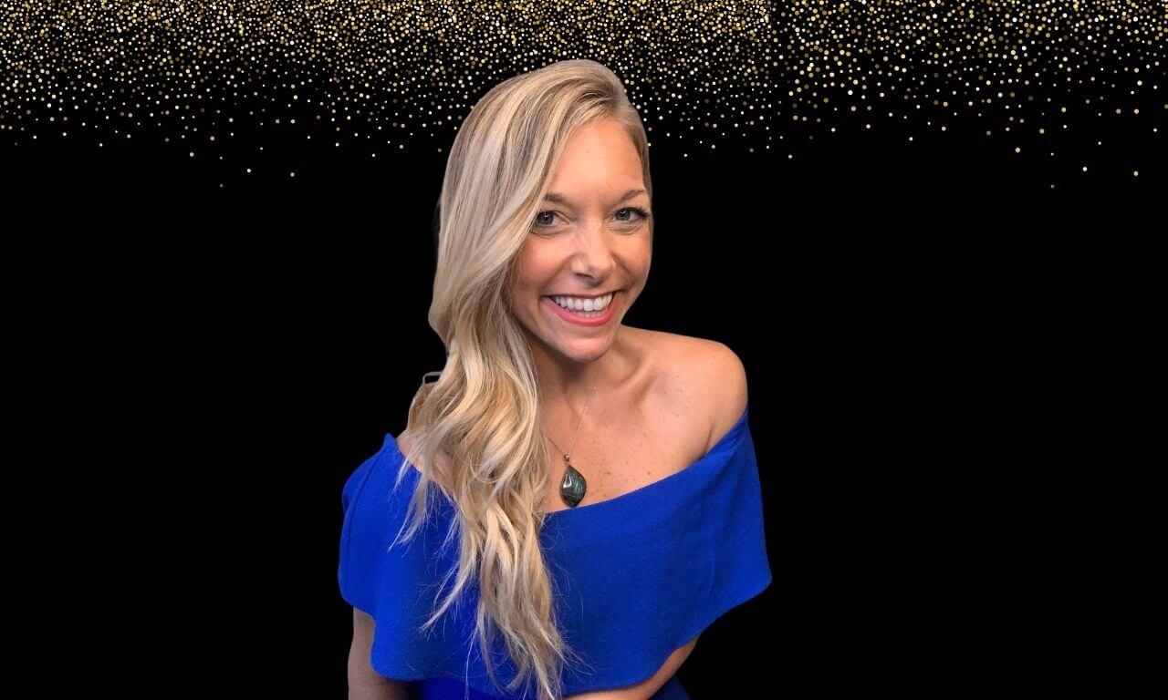 Long Blonde Hair Girl in Blue Shirt