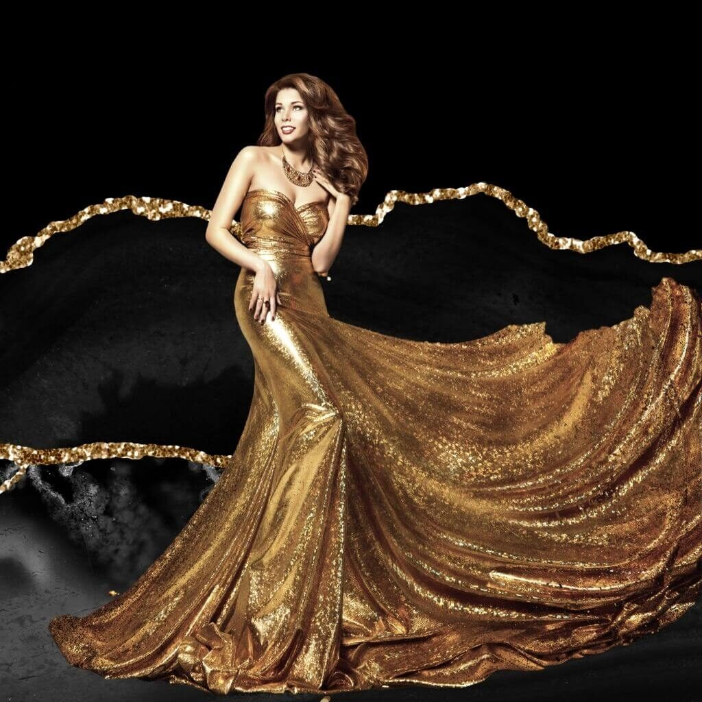 Beautiful Woman in Gold Formal Dress
