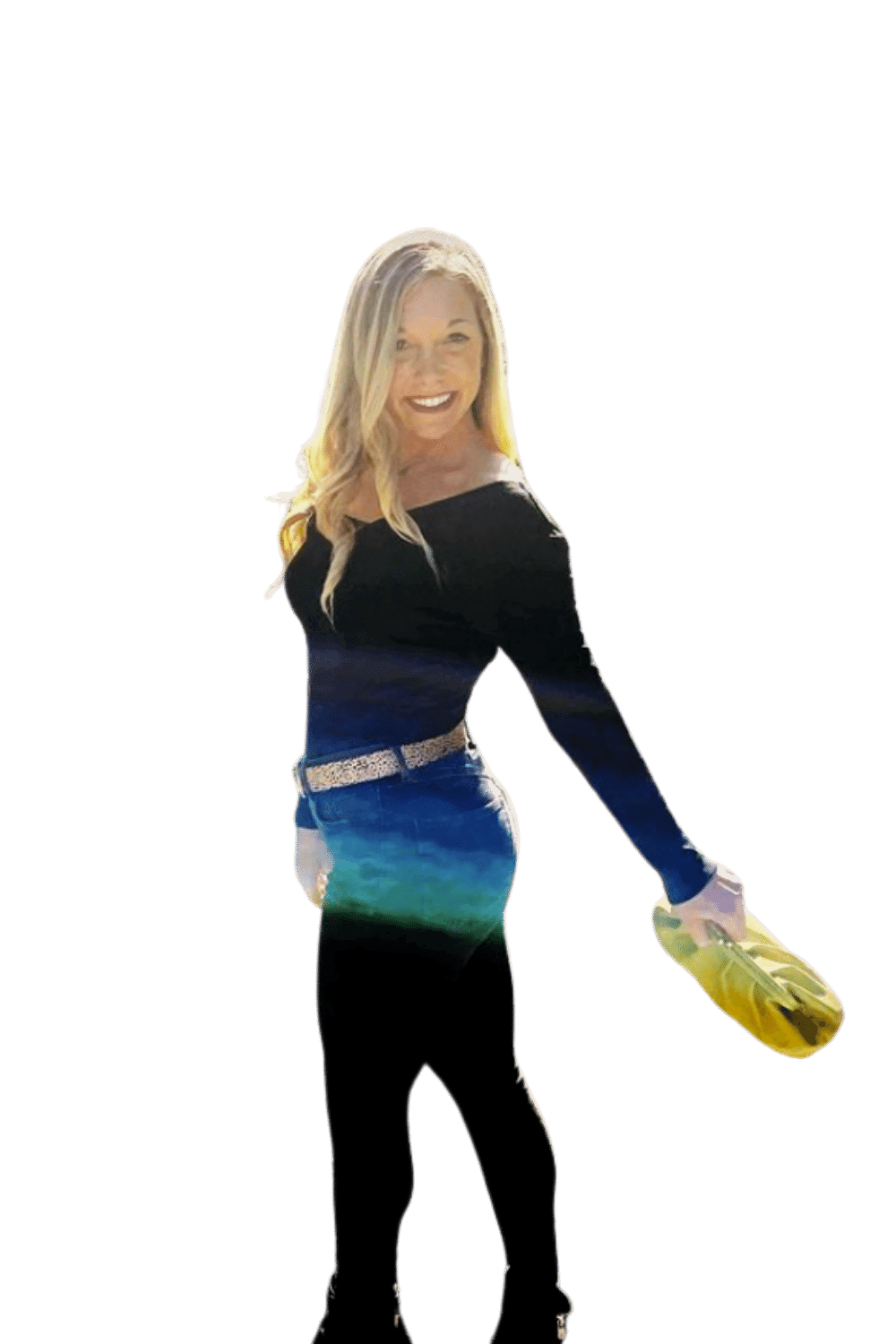 young Blond woman smiling with yellow purse