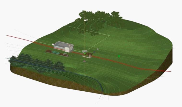 Levantamiento topográfico complejo BIM Software para paisajismo