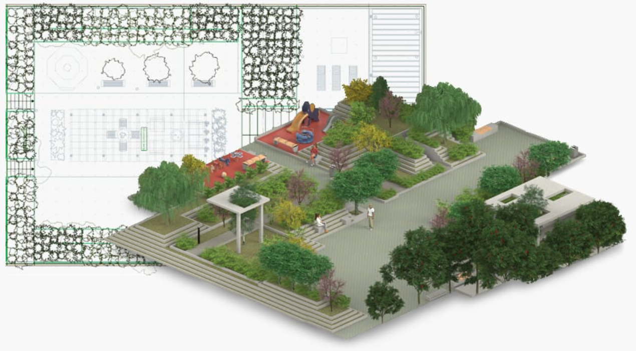 Jardines en 2D y 3D BIM Software para paisajismo