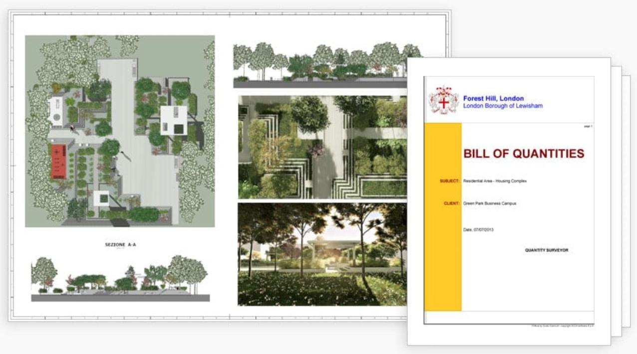 Documentos automáticos del proyecto Software BIM para paisajismo