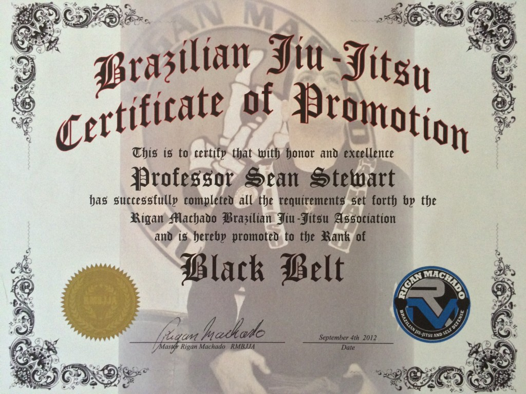 Rigan Machado Black Belt Certificate - Sean Stewart