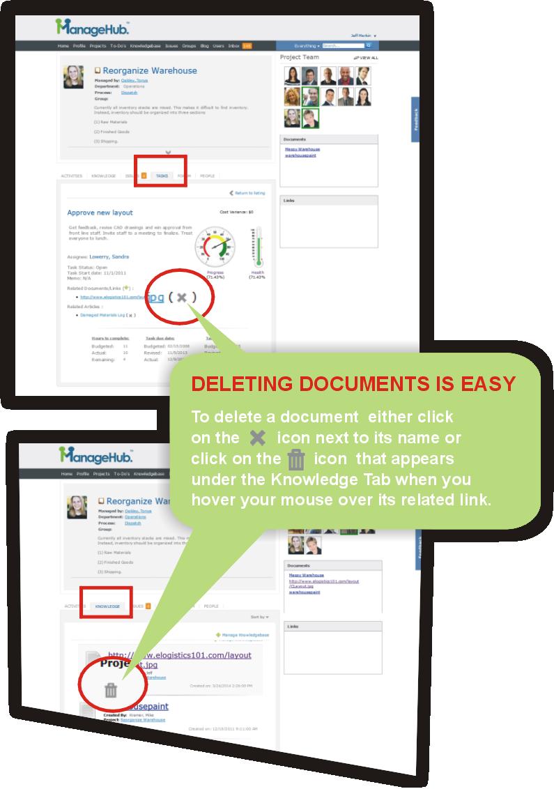 how to delete documents