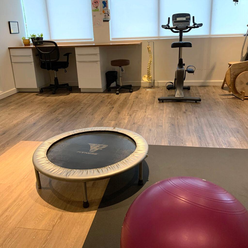 Village, Physio, gym, room, excersize, fitness, rebounder, mini-trampoline, trampoline, ball,