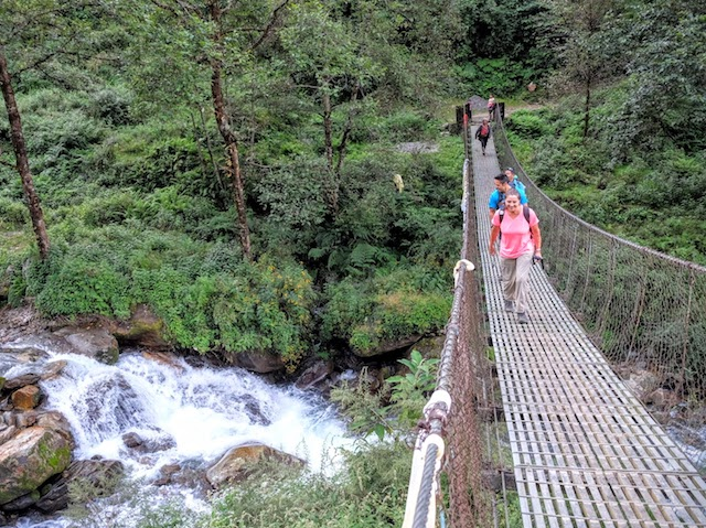 Nepal Sherpa homestay trek suspension bridge trail