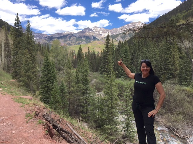 Tammy Leland of Crooked Trails in the mountains