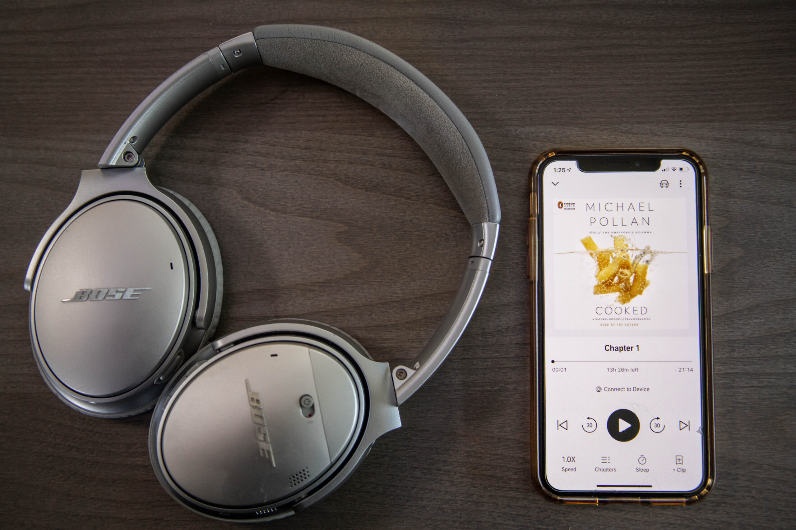 phone with cooked playing on audible