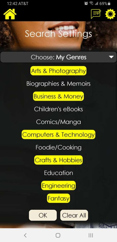 booksniffer-android-genre-list-search-settings