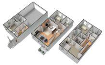 3D floor plans with 4 bedrooms, 4 bathrooms, garage and kitchen.