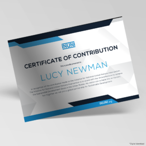 Certificate awarded to a Contributor to the Initiative for National United Nations Intervention