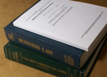 legal brief and law books