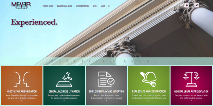 Screen shot of the new Meyer Law Office website