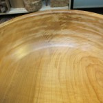 Interior of bowl showing flaws in end grain areas.