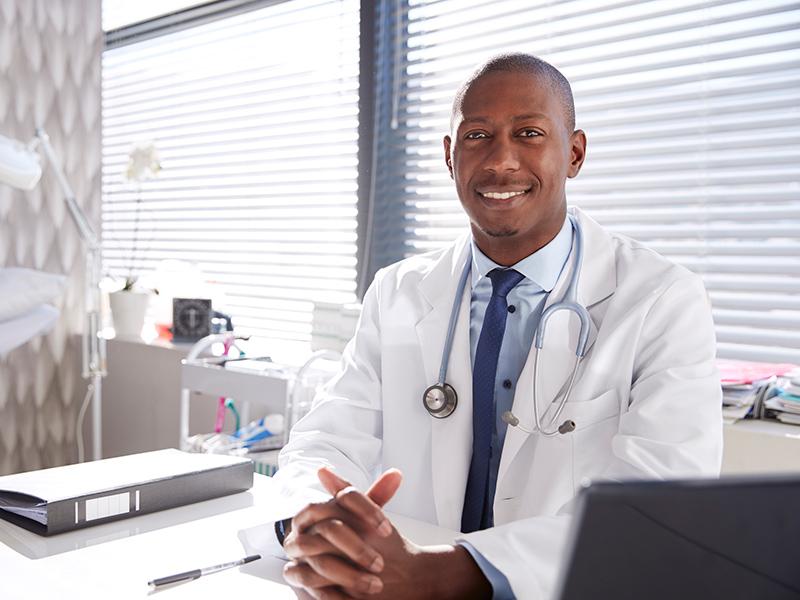 Doctor sitting at desk
