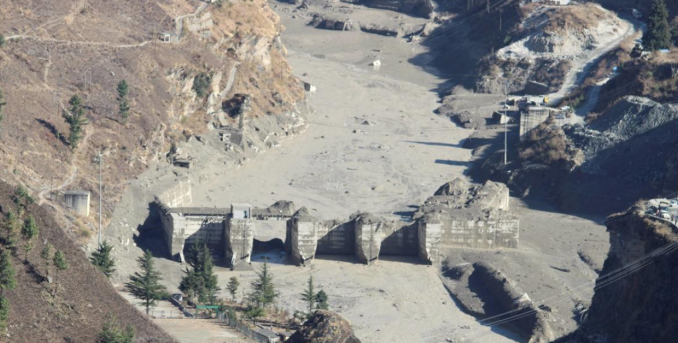 The Dhauliganga hydropower project after a glacier triggered a massive flood in Northern India. (Picture: PTI Photo).