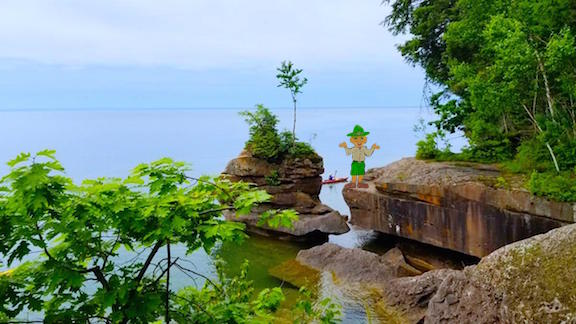 Apostle Islands Rock Formation with Parker