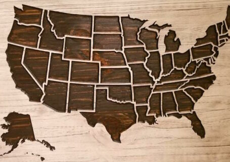 Wooden U.S.A. Map from Howdy Owl
