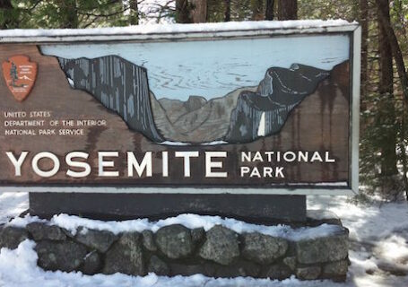 Yosemite National Park Sign in the snow