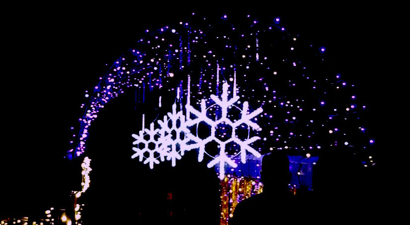 Lighted snowflake arch