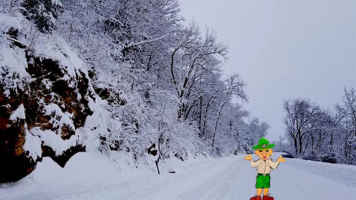 Snow covered Wabasha, MN road along the bluffs