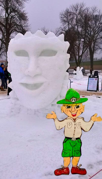 Parker visits the St. Paul Winter Carnival snow carving