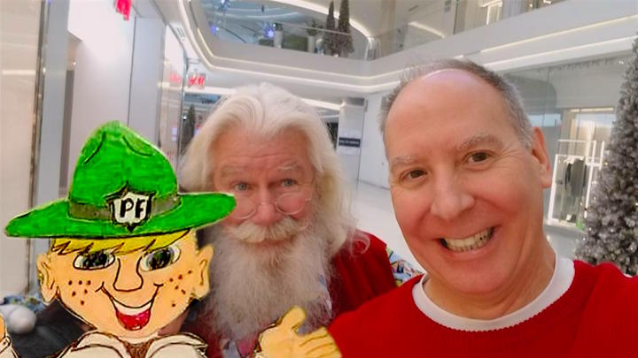 Santa Claus celebrates a white Christmas with Parker Flatly and Meandering Mike