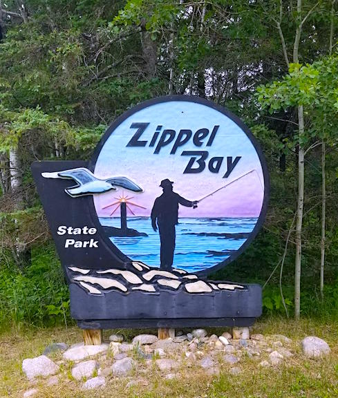 Zippel Bay State Park sign