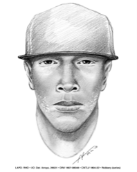Los Angeles police released this sketch of a robbery suspect on May 2, 2018.