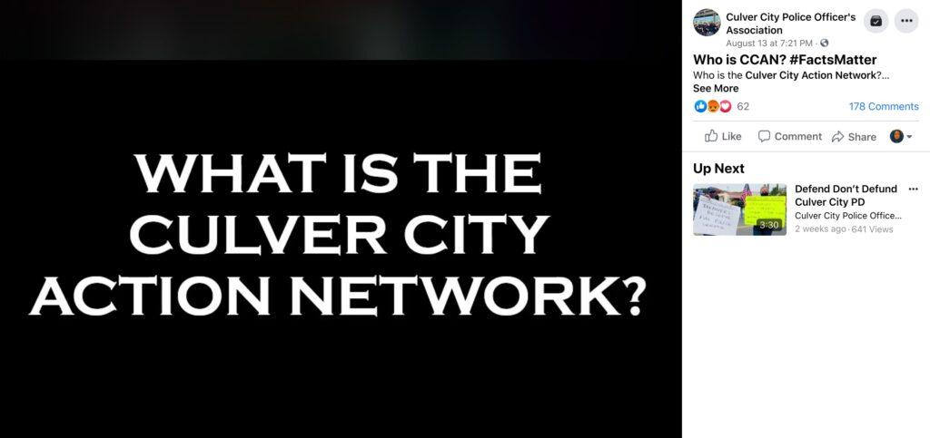 Culver City Police Officer's Association Targets CCAN