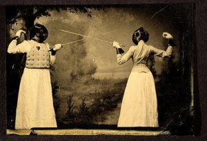 Title: Two women fencing Date: ca. 1885 Medium: tintype Dimensions: 6.3 x 9.0 cm. George Eastman House Collection