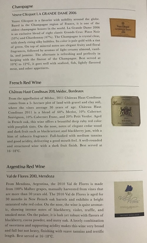Airline champagne Veuve Clicquot