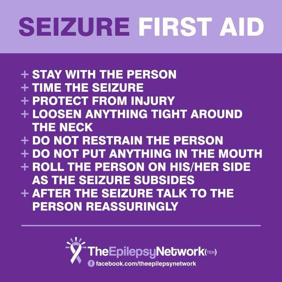 Seizure First Aid  Stay with the person Time the seizure Protect rom injury Loosen anything tight around the neck Do not restrain the person Do not put anything in the mouth Roll the person on their side as the seizure subsides After the seizure talk to the person reassuringly