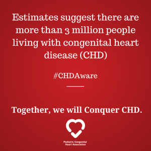 Estimates suggest there are more than 3 million people living with congenital heart disease (CHD).